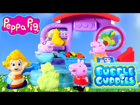 VEGETABLES - Bubble Guppies Bubbletucky Market Play Doh with Peppa Pig Family. Bubble Guppies Peppa Pig Superstore Shopping and Creation of Playdough foods like carrots, playdoh corn, playdoh grapes and.