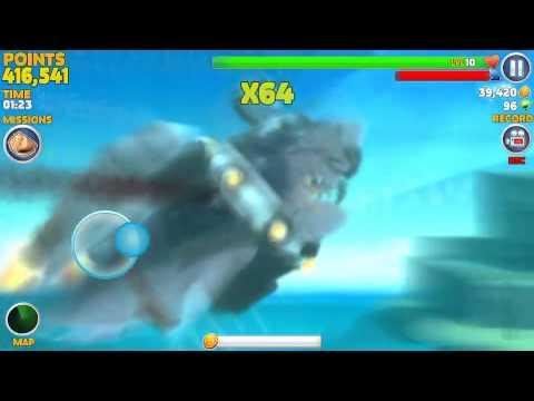 Hungry Shark Evolution - Level 10 Laser/Jetpack/Vortex Megalodon Bested by Big Daddy
