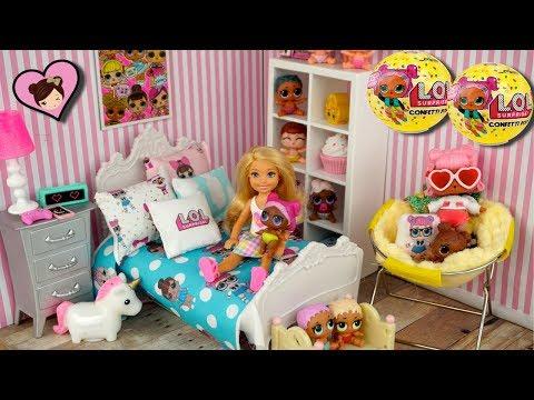Barbie Doll LOL Surprise Themed Bedroom Tour & New LOL Confetti Pop Opening