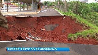 Parte do sambódromo de Bauru desaba após fortes chuvas