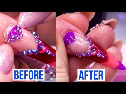 Acrylic nails - Repairing A Lifted Acrylic Stiletto Nail with Cuticle Design