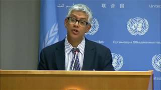 Daily Press Briefing: Yemen, Central African Republic, Sudan, South Sudan, Tanzania, Environment, OCHABriefing by Farhan Haq, Deputy Spokesperson for the Secretary-General.HIGHLIGHTS---------------------------- U.N. OFFICIAL DEEPLY CONCERNED BY BLOCKAGE OF AID TO YEMENIS IN NEED- CENTRAL AFRICAN REPUBLIC: U.N.-BACKED APPEAL REVISED UPWARDS TO NEARLY $500 MILLION- IN SUDAN, SENIOR U.N. OFFICIAL PAYS TRIBUTE TO COUNTRY'S GENEROSITY IN HOSTING REFUGEES- AS NUMBER OF SOUTH SUDANESE REFUGEES IN UGANDA REACHES 1 MILLION, U.N. REFUGEE CALLS FOR STEPPED UP SUPPORT- U.N. AGENCY, TANZANIA ISSUE JOINT CALL FOR PROTECTION OF REFUGEES, ASYLUM-SEEKERS- SHORTLIST ANNOUNCED FOR U.N. YOUNG CHAMPIONS OF THE EARTH PRIZE- U.N. TO MARK WORLD HUMANITARIAN DAY TOMORROWFull Highlights: https://www.un.org/sg/en/content/ossg/noon-briefing-highlight?date%5Bvalue%5D%5Bdate%5D=17+August+2017