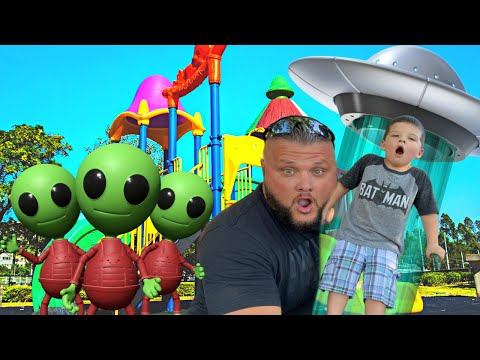 CALEB'S FAVORITE PLAYGROUND PARK!! ALIEN SPACESHIP at the PARK! Hide & Seek PRETEND PLAY with Mom!
