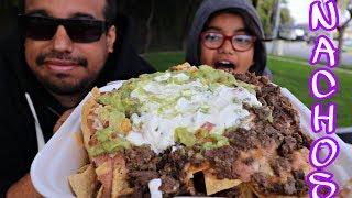Loaded *CHEESY* Carne Asada Nachos Mukbang/Social Eating Show *Tastee Motive Carne Asada Fries