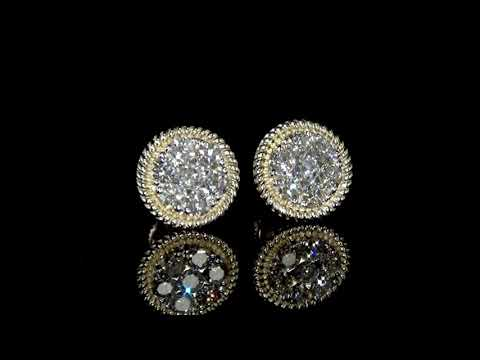 Lady's 14k Yellow Gold Cluster Diamond Earrings