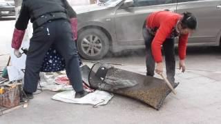 Dazhou China  city images : making popcorn in Dazhou China February 2016