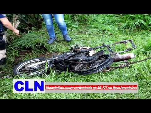 Motociclista morre carbonizado após moto bater contra árvore na BR-277 em Nova Laranjeiras.