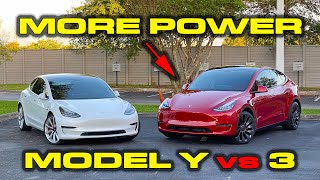 BIGGER BATTERY, MORE POWER in the Y * Tesla Model Y Performance vs Model 3 Performance by DragTimes