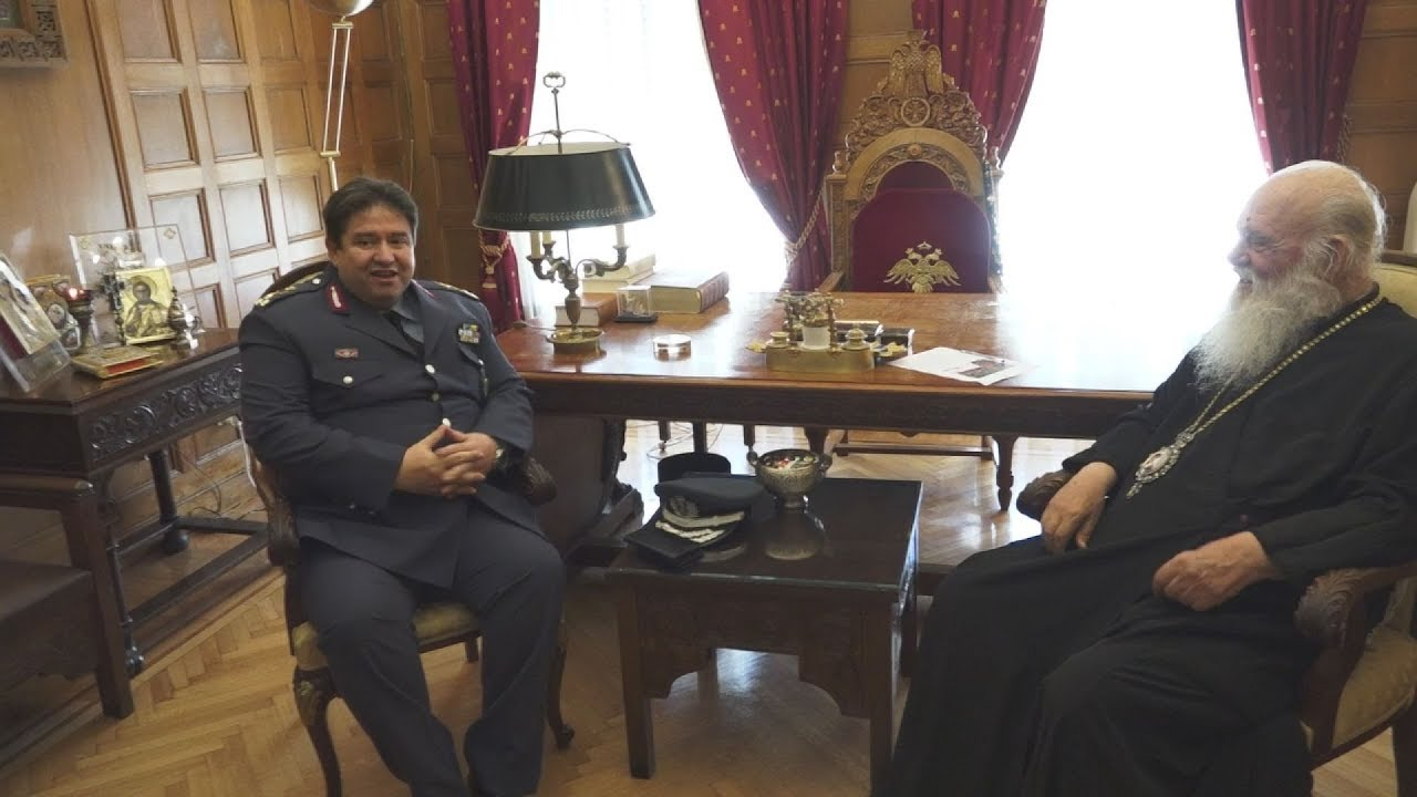 Συνάντηση του Αρχιεπισκόπου Ιερώνυμου με τον νέο αρχηγό της Ελληνικής Αστυνομίας, Μιχάλη Καραμαλάκη