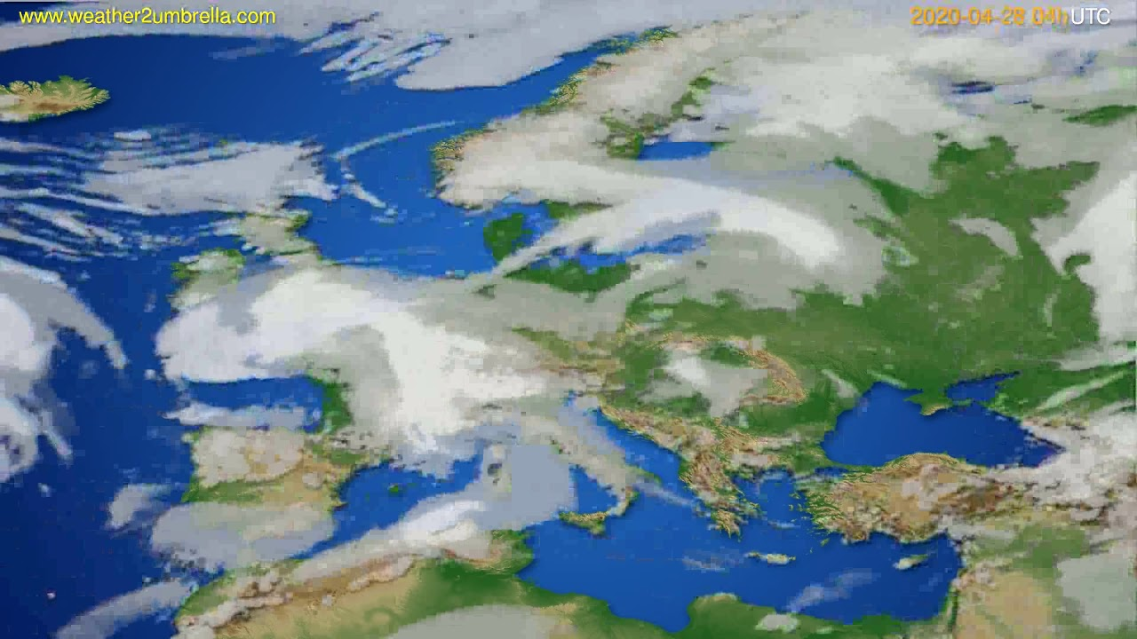 Cloud forecast Europe // modelrun: 12h UTC 2020-04-27