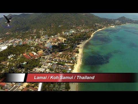 Lamai Beach / Koh Samui overflown with a drone.