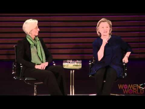 "At the kickoff of the Women in the World Summit, Clinton said Russia needed to be put in its ""proper place,"" with IMF chief Christine Lagarde at her side."