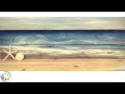 DIY Beach Painting on Wood | Acrylic Painting Tutorial