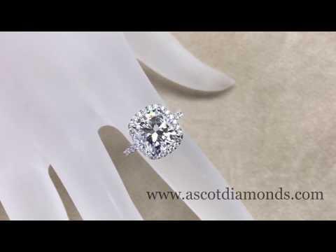 Cushion Diamond Halo Engagement Ring French set setting in 18k white gold