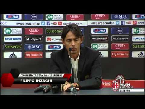 Milan - Pippo Inzaghi prima della partenza per gli Stati Uniti. AC Milan coach ahead of boarding the flight for US . Pippo Inzaghi held a press conference before the Milan squad left for their tour...