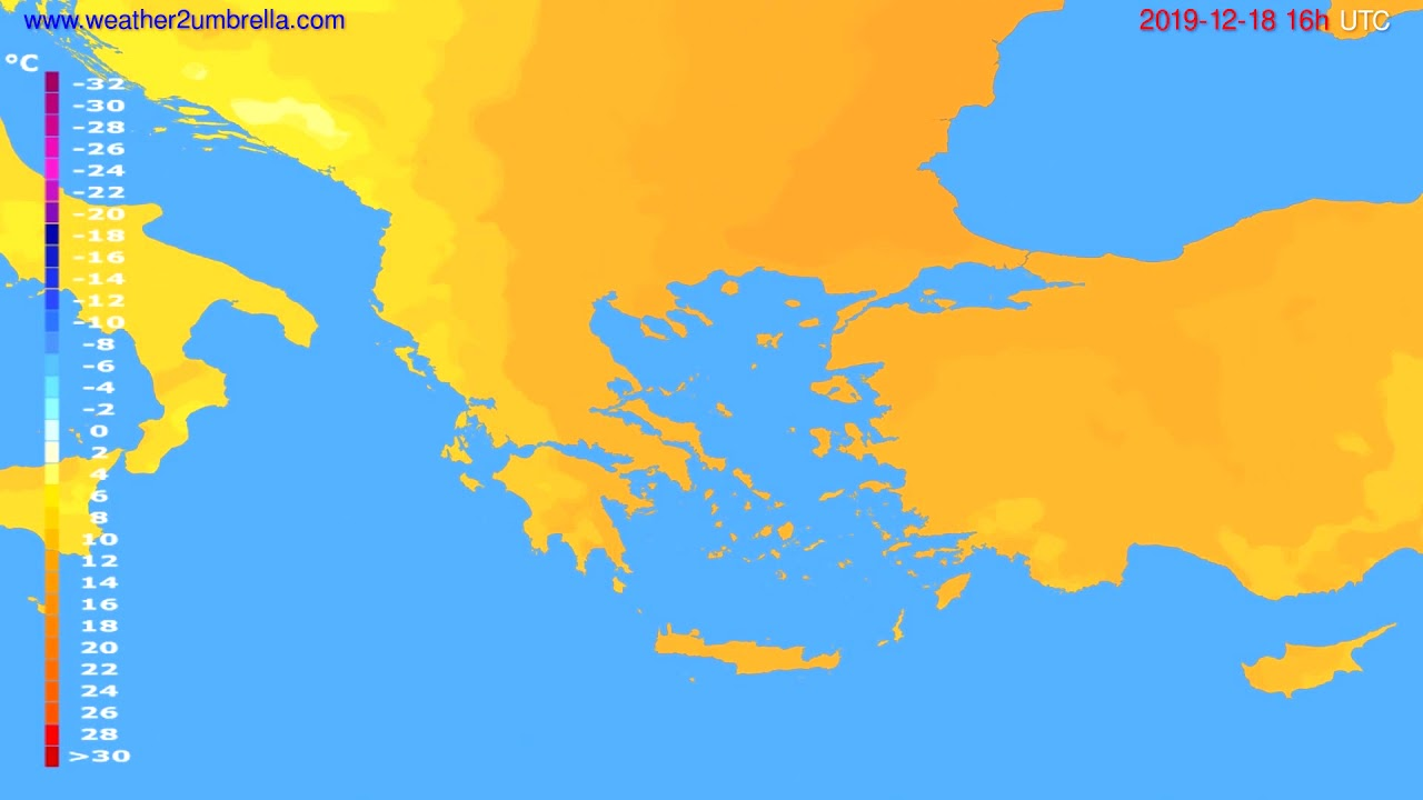 Temperature forecast Greece // modelrun: 12h UTC 2019-12-17
