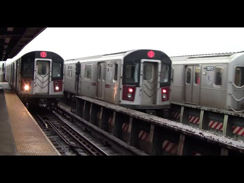 ᴴᴰ R62A and R188 7 Train Action at 46th Street