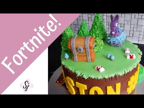 FORTNITE CAKE TUTORIAL!! Including, Fondant Llama & Chest!!