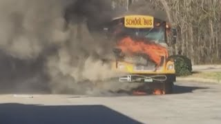 South Carolina school bus catches fire: raw video