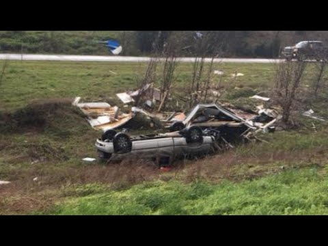 Couple Crawls Out of Truck Alive After It Was Carried By Tornado