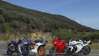 7. 2015 SMALL SPORTBIKE SHOOTOUT | RC390 vs YZF-R3 vs CBR300R vs Ninja 300 | ON TWO WHEELS