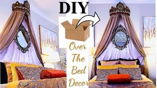OVER THE BED VICTORIAN CHIK DIY ON A BUDGET! BEDROOM DECORATING IDEAS WITH CARDBOARD!