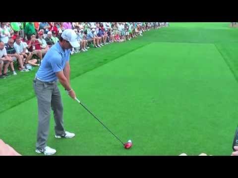 Rory McIlroy hitting driver up 17th on practice day, The Masters, 2013, Augusta National