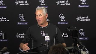 Bud Black discusses the recent success of the offense and Jon Gray's solid outing in the Rockies' 18-4 win over the Padres Check...