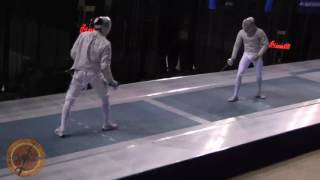 This is a semifinal bout in the men's sabre event at the NCAA fencing championships in Indianapolis, Indiana. Ziad Elsissy of Wayne State University is on the right and Fares Arfa of Ohio State University is on the left.