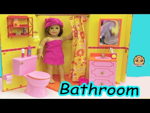American Girl Doll Room - Shower,  Brush Teeth, Surprise Blind Bags Toy Video