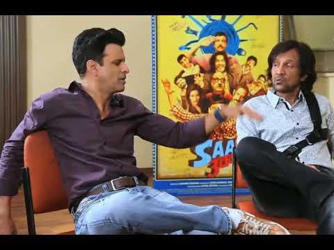 Manoj Bajpai, Vijay Raj & k k sir talking to each other with  film promotion  desi tadka gali galoch