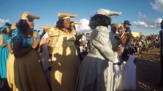 Women's procession at Herero wedding in Talismanis, Gobabis, Namibia 15.04.2017