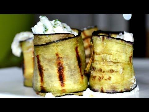 involtini di melanzane grigliate ripieni di ricotta e grana - ricetta