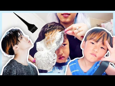 Dyeing my son's hair with only 10 min of bleach (omg it's baby jimin) (видео)