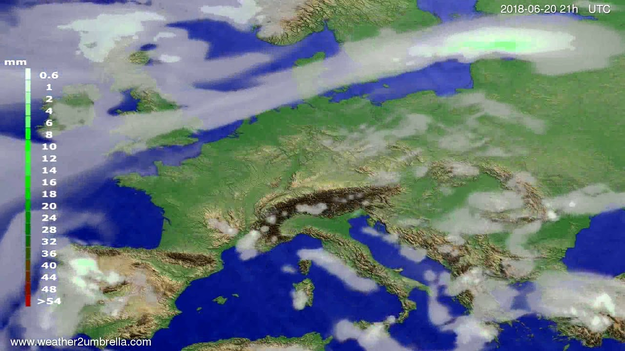 Precipitation forecast Europe 2018-06-17