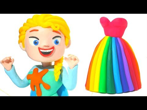 FROZEN ELSA NEW DRESS ❤  Superhero Babies, Hulk & Frozen Play Doh Cartoons For Kids