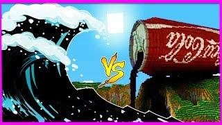 Minecraft - COCA COLA TSUNAMI VS BASE CHALLENGE! W/LittleLizard & Little Ropo