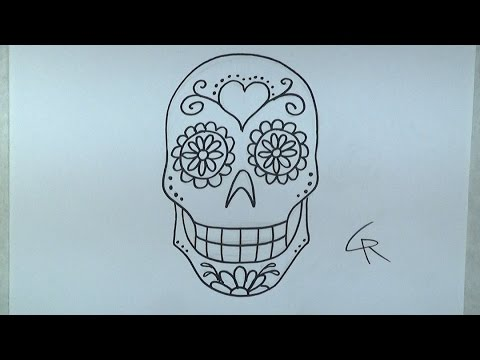 Learn How To Draw and Color A Sugar Skull -- Part 1 -- iCanHazDraw!