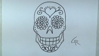Learn How To Draw and Color A Sugar Skull -- Part 1 -- iCanHaz...