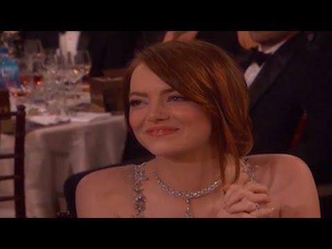 Emma Stone Cries While Ryan Gosling Wins A Golden Globe For 'La La Land' (видео)
