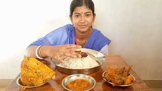 Eating Postor Bora, Fish Head Curry, Chingri Macher Malai Curry with Rice || Food Ninja