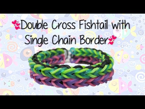 Double Fishtail with Single Chain Border Rainbow Loom Bracelet- ORIGINAL DESIGN