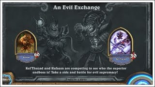"""In this episode we are taking a look at the Hearthstone Tavern Brawl """"An Evil Exchange"""". In this Brawl you are either Rafaam OR Kel Thuzad. Each have essentially 60 health with a pre-made deck. Don't tell anyone BUT Rafaam is underpowered! Subscribe For More Here: https://goo.gl/yL2Ef0Subscribe To My Main Tech Channel Herehttp://goo.gl/HvGI4O----------------------------------------------------------------------------------FOLLOW ME ON TWITCHhttp://www.twitch.tv/technologyguruMY TWITTER: https://twitter.com/#!/TechGuru77MY FACEBOOK: http://www.facebook.com/pages/TechGur...MY GOOGLE+ https://plus.google.com/techguru77MY INSTAGRAM:http://instagram.com/dmporter17WEBSITES: http://www.youtubecreatorshub.comGROW YOUR YOUTUBE CHANNEL LISTEN TO OUR PODCAST: http://goo.gl/6dnF54"""