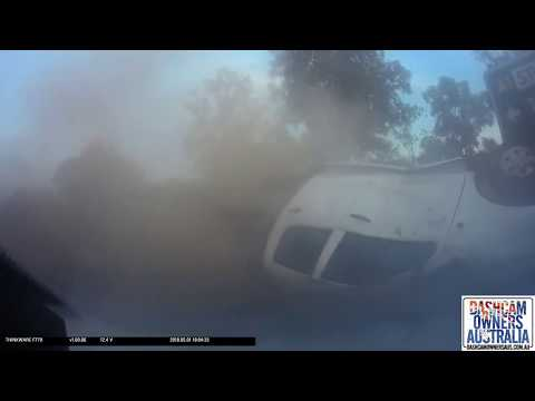 Toyota pulls out blindly in front of Jeep and gets rolled - Katherine NT