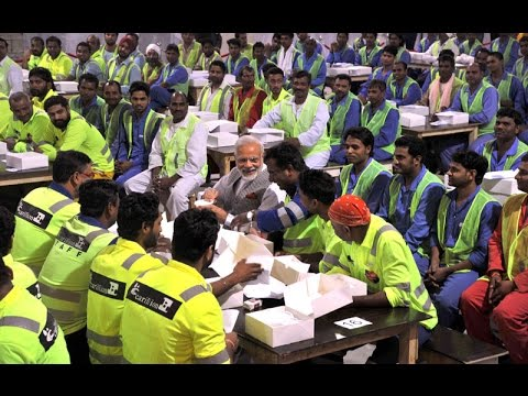 PM Modi visits the Indian Worker's Camp in Doha, Qatar