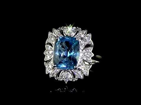 Lady's 14k White Gold 5.03ct Blue Topaz and Diamond Ring