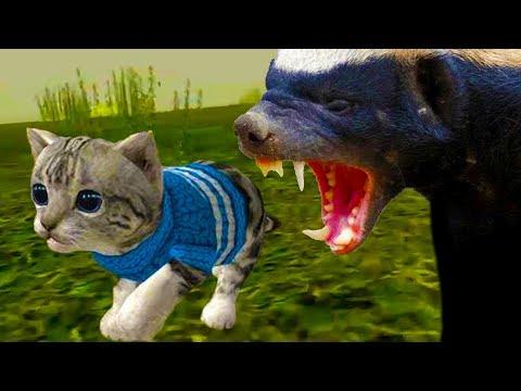 СИМУЛЯТОР Маленького КОТЕНКА #3 побег змеи Барсук больно укусил котика видео для детей КИД ПУРУМЧАТА