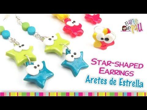 fimo - simpatici orecchini a forma di stella