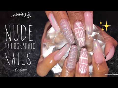 Acrylic Nails Fill  Nude Holographic Nails
