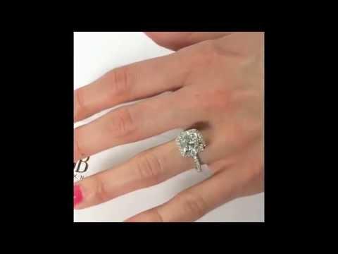 4 carat Cushion cut Diamond Halo Engagement Ring